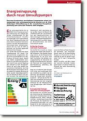Energieeinsparung durch neue  Umwälzpumpen: Quantensprung in der Entwicklung von Energie sparenden Umwälzpumpen für den  Einfamilienhausbereich