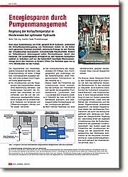 Energiesparen durch Pumpenmanagement: Regelung der Vorlauftemperatur in Heizkreisen bei optimaler Hydraulik. Eine neue Systemlösung von KSB, genannt BOA-Systronic, unterstützt die Vorlauftemperaturregelung von Heizkreisen, indem sie ein bisher nicht genutztes Potential erschließt, elektrische Energie für den Betrieb der Umwälzpumpe einzusparen.