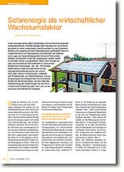 Solarenergie - wichtiger Motor für das regionale Wirtschaftswachstum - global denken, lokal handeln.