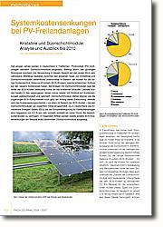 Systemkostensenkungen bei PV- Freilandanlagen: Kristalline und Dünnschichtmodule: Analyse und Ausblick bis 2010