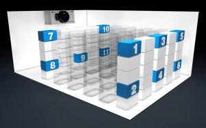 Abb.13  Versuchsaufbau zur Bestimmung der Temperaturverteilung im Kühlraum.