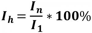 Prozentzahl der Grundschwingung (%fund) oder des Effektivwerts (%r) des Gesamtstroms